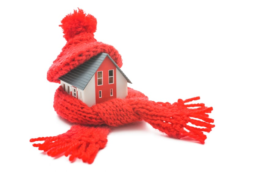little house wrapped in a red scarf